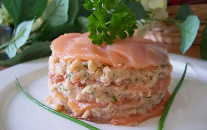 Mille-feuille de la mer saumon et crabe