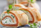 Crêpes faciles roulées au saumon fumé