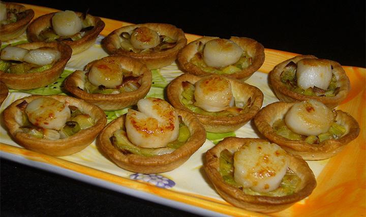 Mini-tartelettes Fondue de poireaux Noix de St Jacques