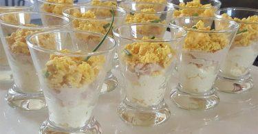 Verrines thon aux oeufs mimosa et mayonnaise