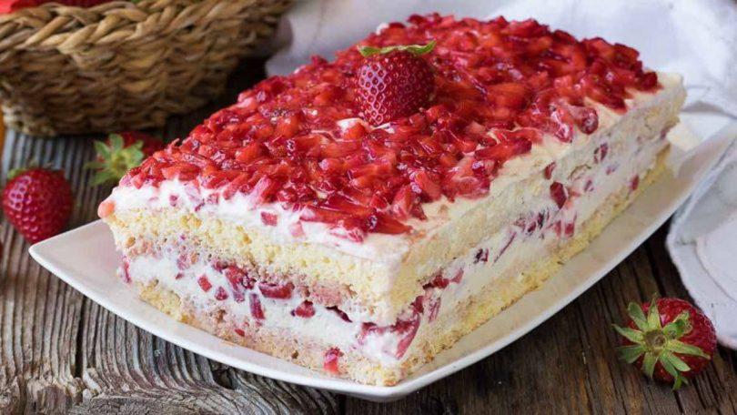 Gâteau aux fraises et au mascarpone