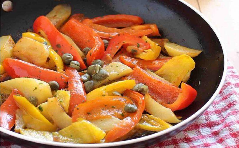Recette poivrons et pommes de terre poêlés