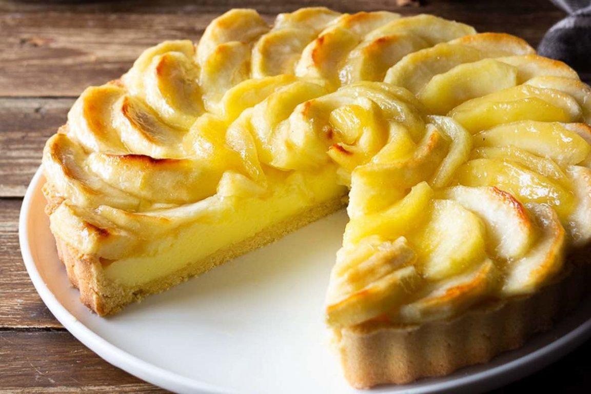 Recette tarte aux pommes et à la crème pâtissière