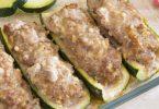 Courgettes farcies à la viande et au saucisson